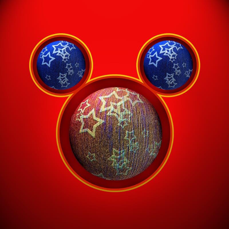 Souris de Noël avec les boules rouges et bleues illustration libre de droits
