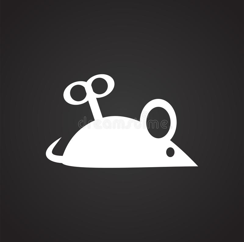 Souris de rouages de chat d'animal familier sur le fond noir pour le graphique et la conception web, signe simple moderne de vect illustration de vecteur