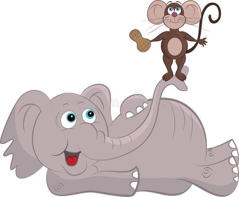 Souris et éléphant de bande dessinée illustration libre de droits