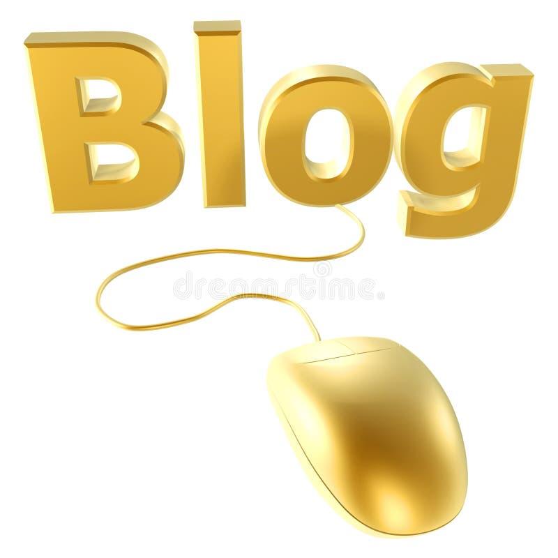 Souris et blog d'or illustration de vecteur
