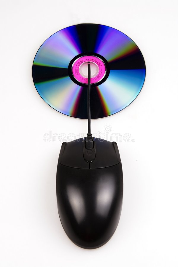 Souris et disque compact-ROM photographie stock