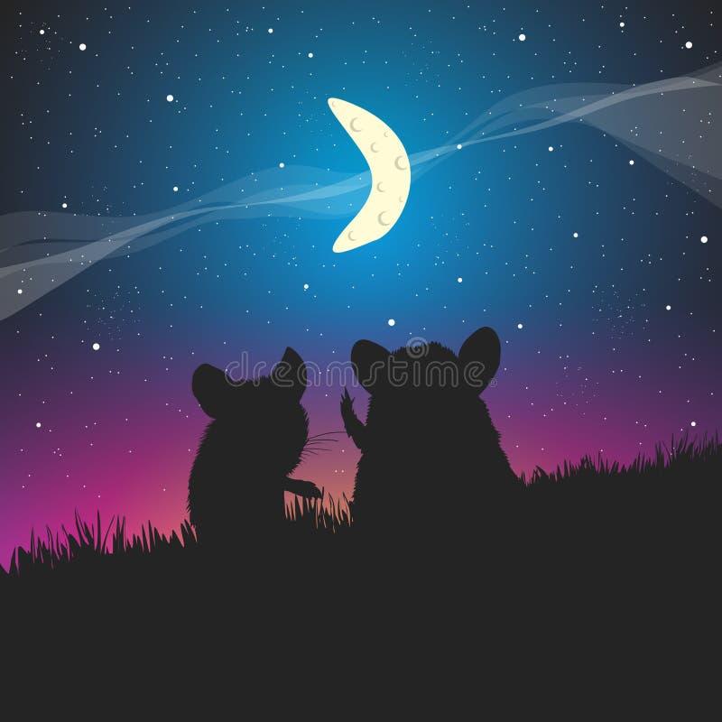 Souris et un croissant de lune dans le ciel illustration de vecteur