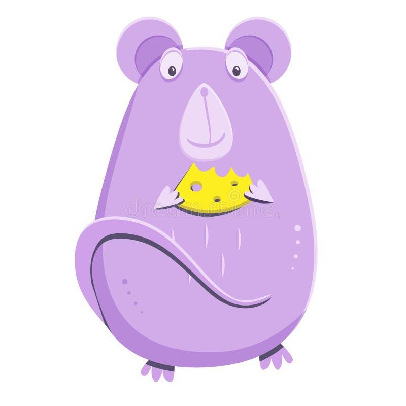 Souris lilas mignonne avec un morceau de fromage Rat de bande dessinée la mascotte de 2020 ans illustration stock