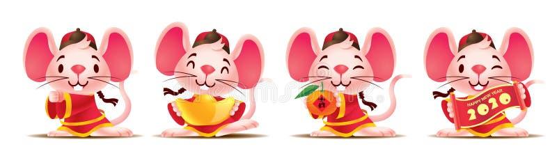Souris mignonne avec costume chinois traditionnel Rat mou avec des dorures / Parchemin rouge / Mandarin orange Nouvel An chinois  illustration de vecteur