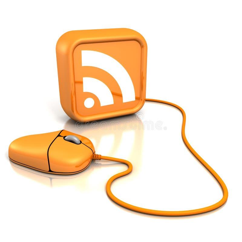 Souris orange d'ordinateur avec le graphisme de RSS illustration libre de droits