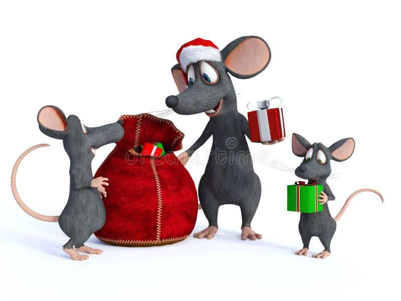 Souris Santa de bande dessinée distribuant des présents aux enfants illustration stock