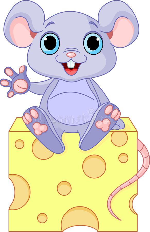 Souris sur le fromage illustration stock