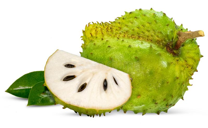 Soursop, τραχιά κρέμα Apple που απομονώνεται στο λευκό στοκ φωτογραφία