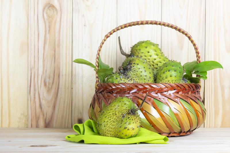 Soursop fruit on wooden table. royalty free stock photos