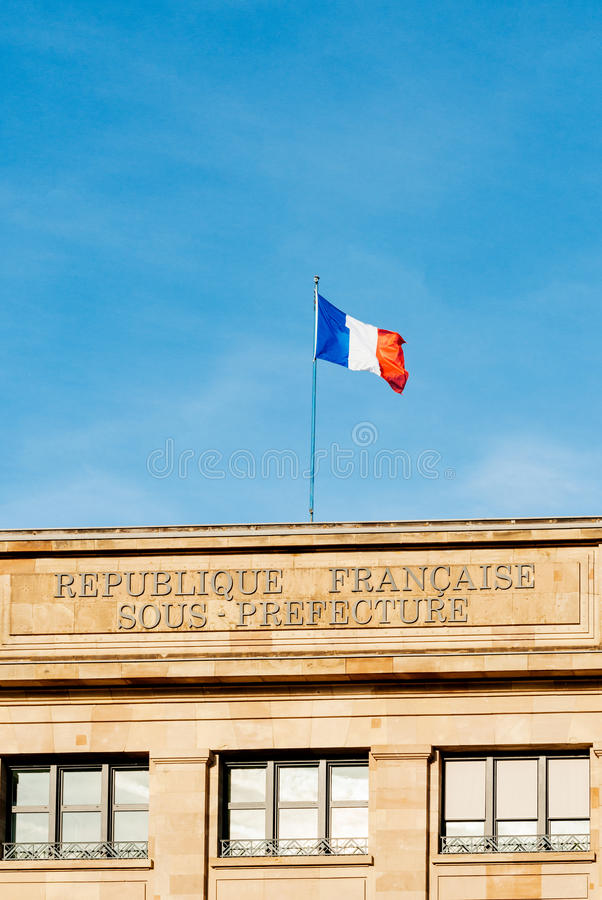 Sous专区和旗子法国挥动 库存图片