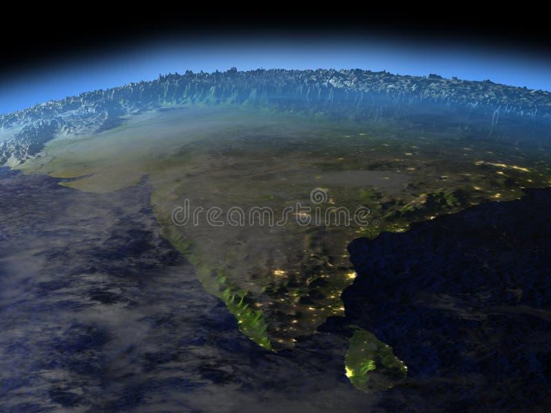 Sous-continent indien de l'espace le début de la matinée illustration libre de droits