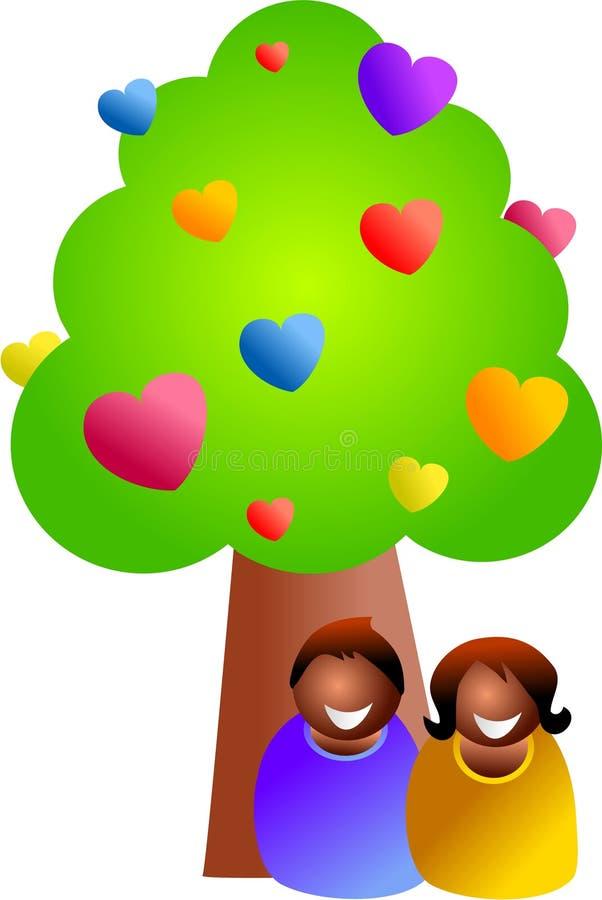 Sous l'arbre d'amour illustration stock