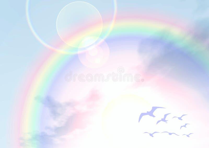 Sous l'arc-en-ciel illustration de vecteur