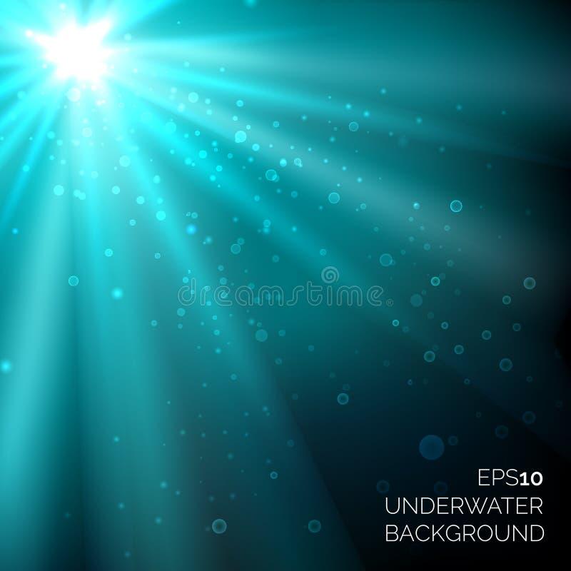 Sous l'océan profond bleu de l'eau le fond avec les bulles et le soleil rayonne illustration de vecteur