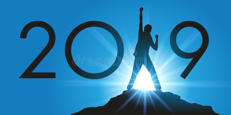 2019 sous la bannière du succès et de la représentation, avec l'exemple d'un homme prenant un défi montant le sommet d'une montag illustration stock