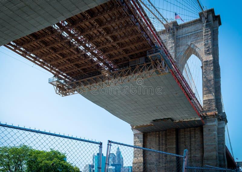 Sous la passerelle de Brooklyn photographie stock libre de droits