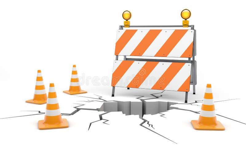 Sous le cunstruction Barrage de route et cônes illustration stock