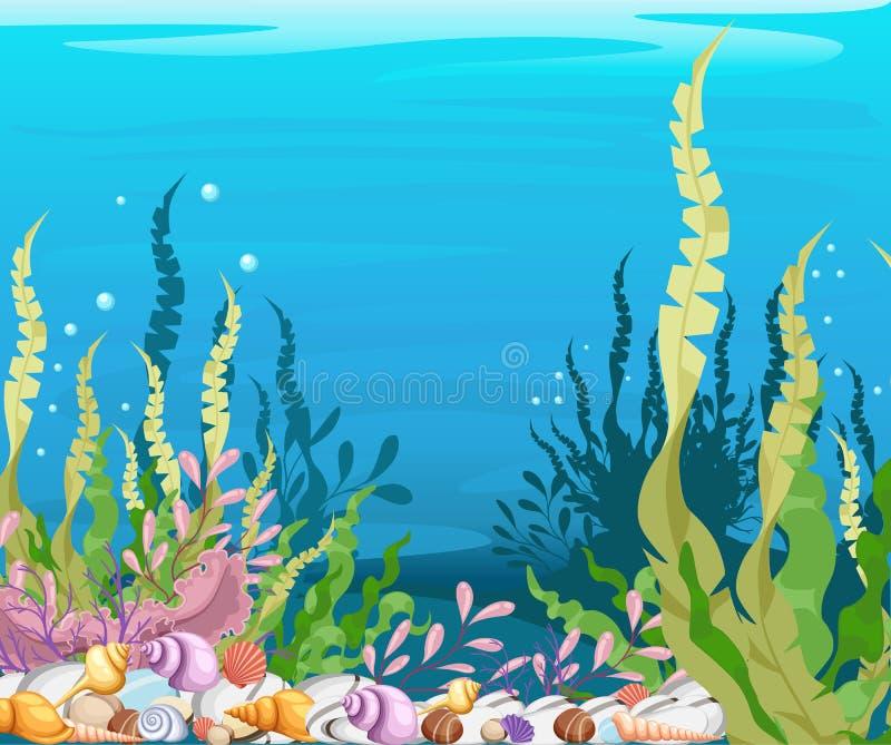 sous le fond Marine Life Landscape - l'océan et le monde sous-marin de mer avec différents habitants Pour la copie, créatine illustration libre de droits