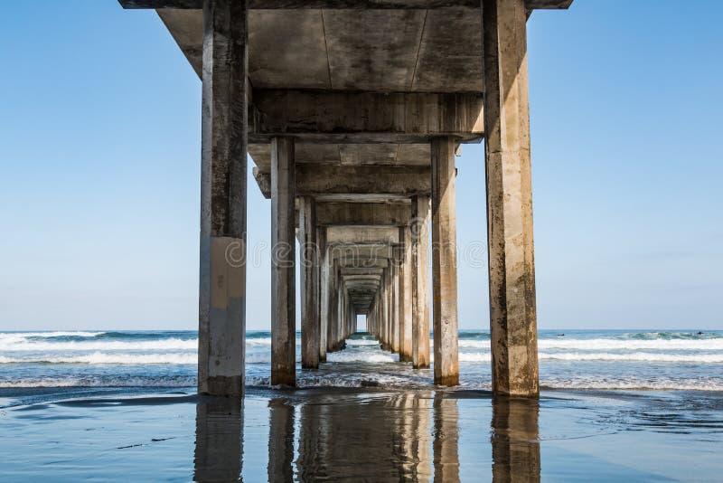 Sous le pilier concret symétrique à La Jolla, la Californie photographie stock