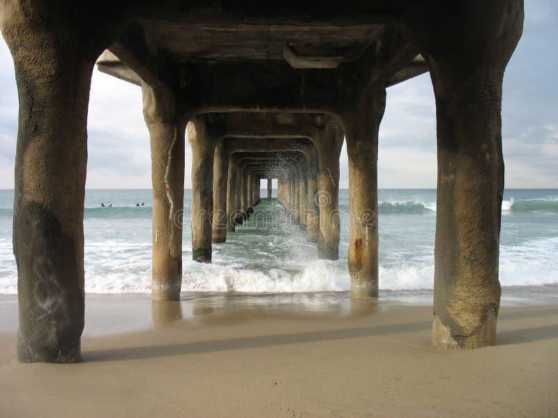 Sous le pilier de Manhattan Beach photo libre de droits