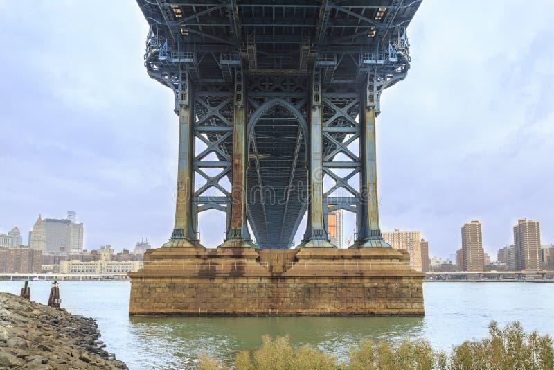Sous le pont de Manhattan du côté de Brooklyn à New York, NY photographie stock libre de droits