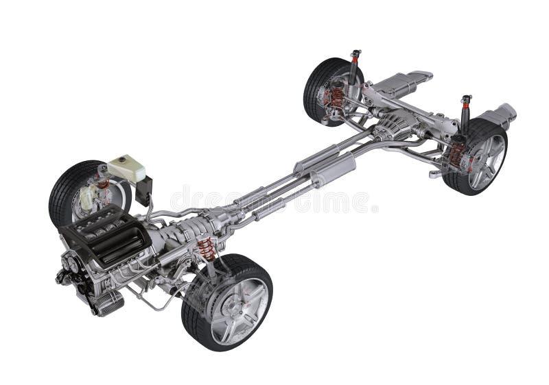 Sous le rendu 3D technique de chariot, d'une voiture de contemporain de berline. illustration de vecteur