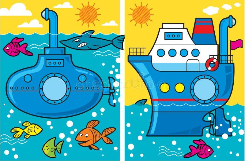 Sous-marin et bateau de dessin animé illustration stock