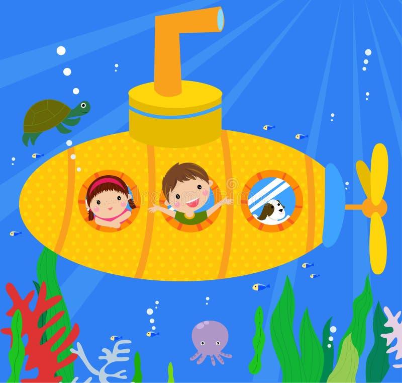 Sous-marin et enfants illustration libre de droits