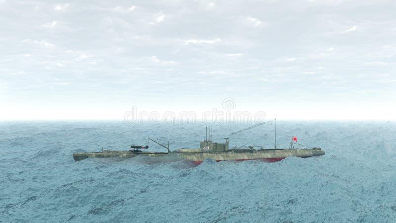 Sous-marin japonais de la guerre mondiale 2 illustration de vecteur