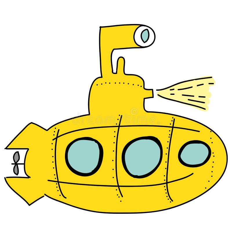 Sous-marin jaune illustration stock