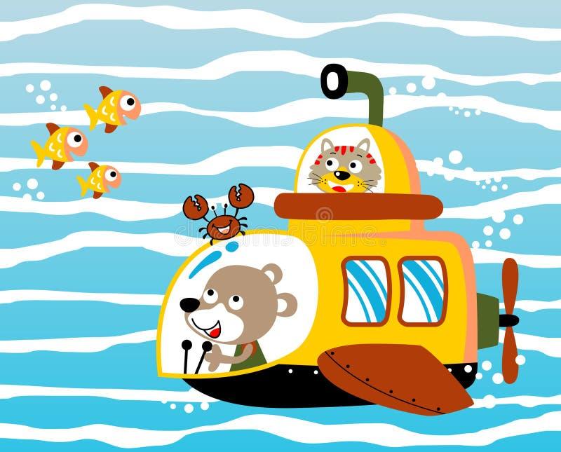 Sous-marin sous la mer bleue profonde illustration libre de droits