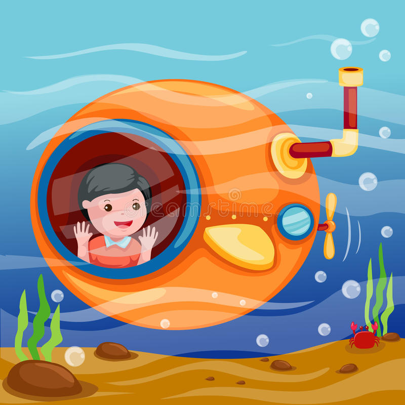 Sous-marin sous-marin illustration de vecteur