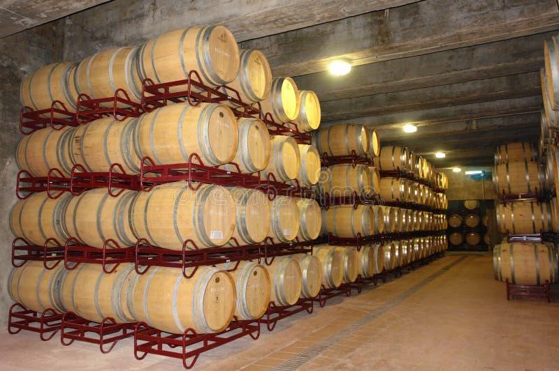 Sous-sol avec des barils de vin dans une petite usine image libre de droits