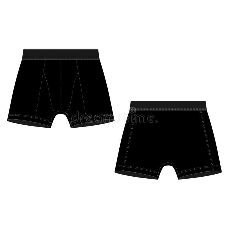 Sous-v?tements techniques d'homme de shorts de boxeur de noir de croquis illustration stock