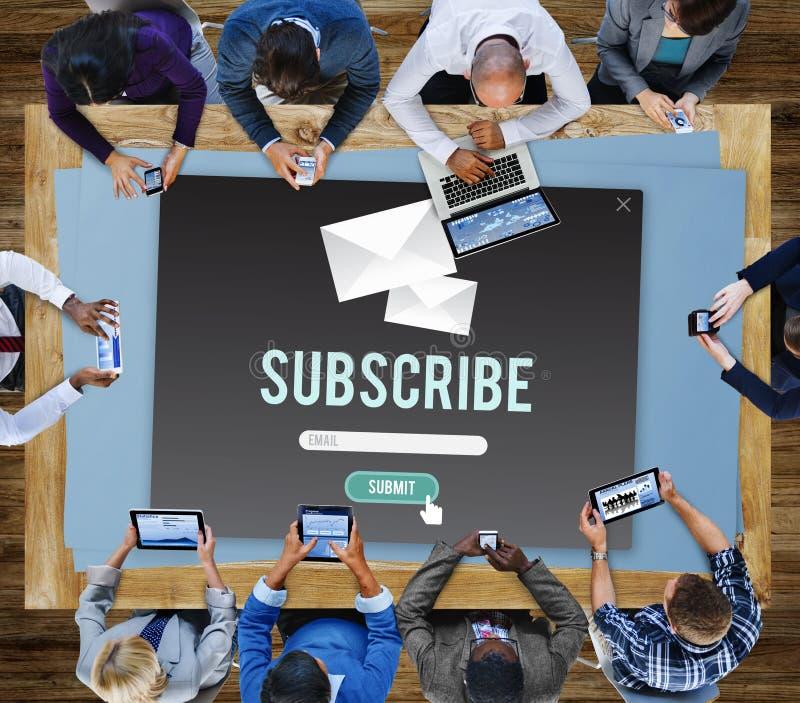 Souscrivez le concept de membre de communication de la publicité photographie stock