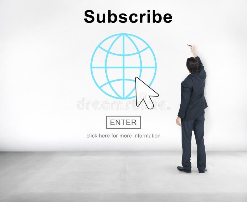 Souscrivez le concept de réseau de page d'accueil de s'inscrire d'alimentation images stock