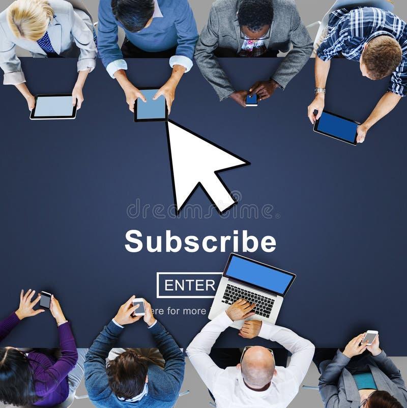 Souscrivez le concept de réseau de page d'accueil de s'inscrire d'alimentation image libre de droits