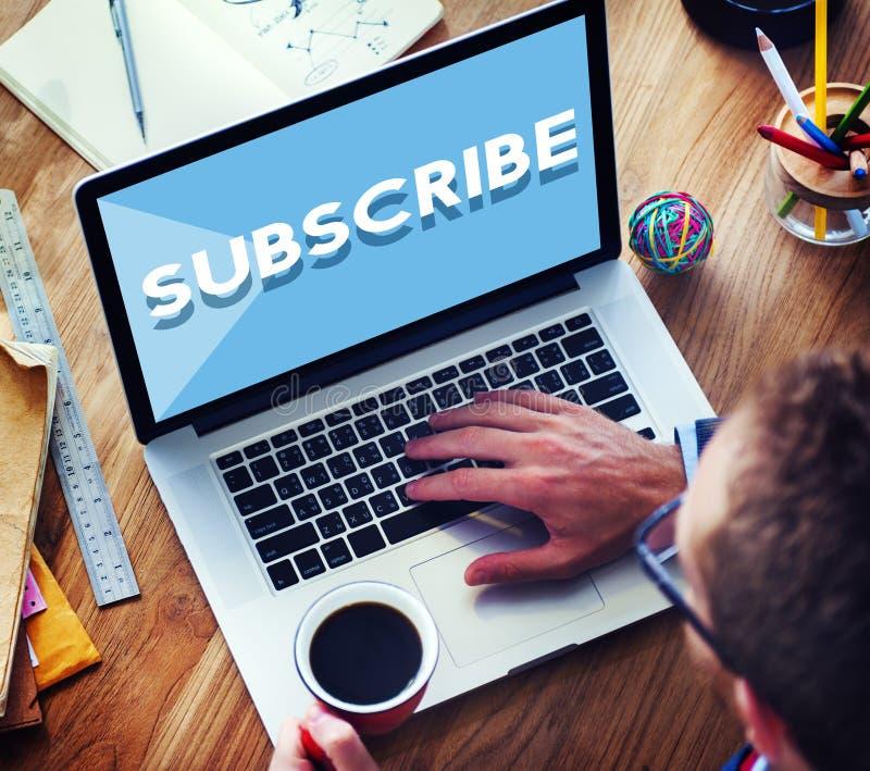 Souscrivez suivent le concept social de media d'adhésion d'abonnement photographie stock