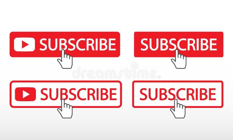 Souscrivez sur le canal Media social de connexion de bouton rouge avec le curseur de main illustration stock