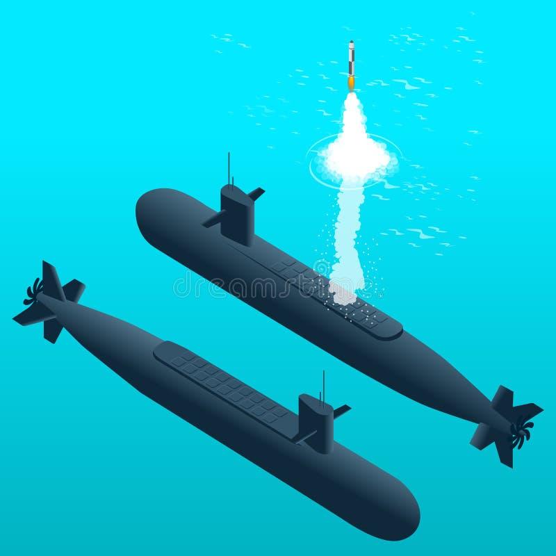 Sousmarin nucléaire se déplaçant sous l'eau Sous-marins à propulsion nucléaire illustration de vecteur