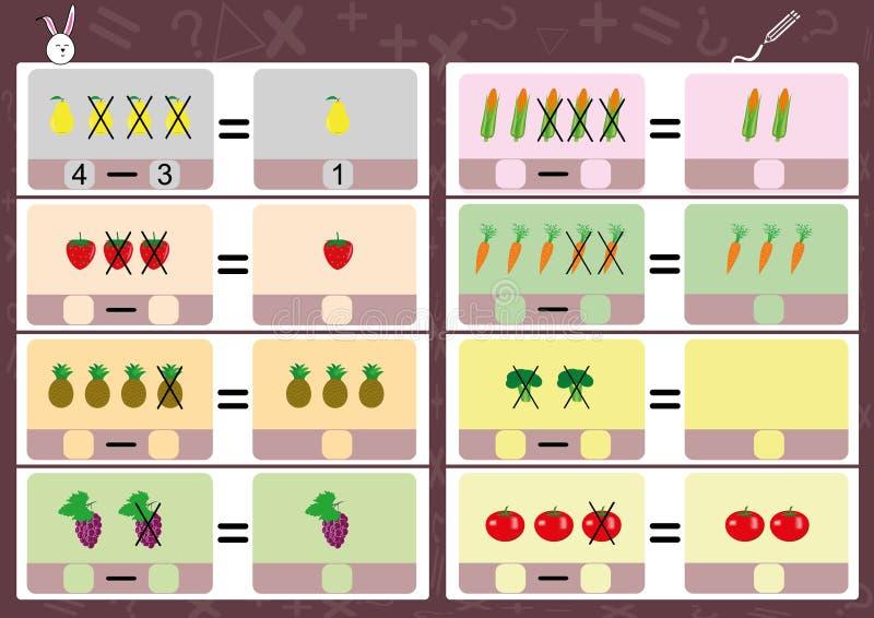 Soustrayant utilisant des photos, fiche de travail de maths pour des enfants illustration de vecteur