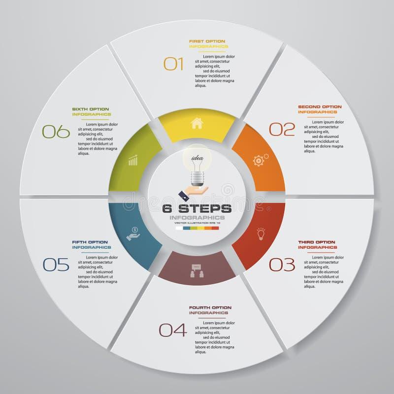 Soustrayez 6 éléments modernes d'infographics de graphique circulaire d'étapes Illustration de vecteur illustration de vecteur