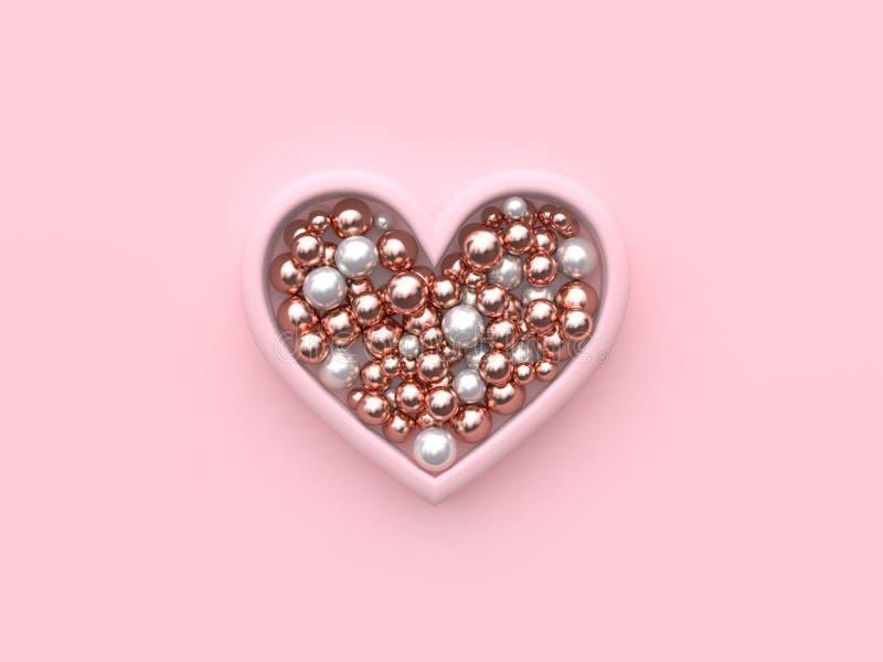 Soustrayez beaucoup le rose blanc de sphère métallique dans le concept 3d de valentine de cadre de coeur pour rendre illustration stock