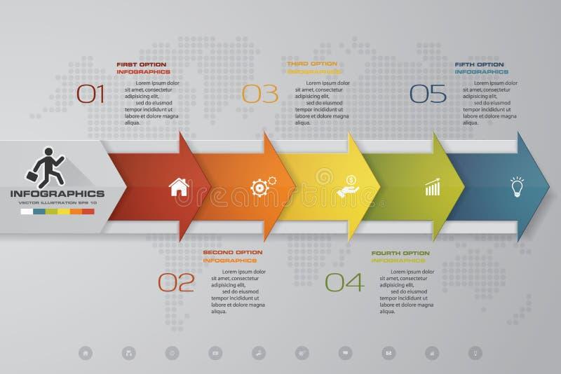 Soustrayez 5 infographis d'étapes avec des éléments de forme de flèche Illustration de vecteur illustration de vecteur