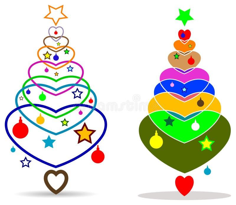 Soustrayez l'arbre coloré de la masse de x avec le coeur d'amour illustration de vecteur