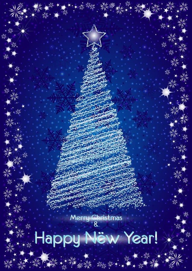Soustrayez l'arbre de Noël stylisé sur le fond neigeux bleu pour des cartes postales illustration stock