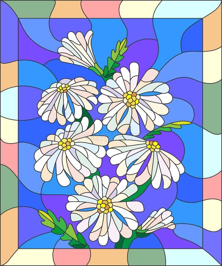 Soustrayez l'image en verre souillé avec un bouquet des marguerites dans un cadre lumineux illustration de vecteur