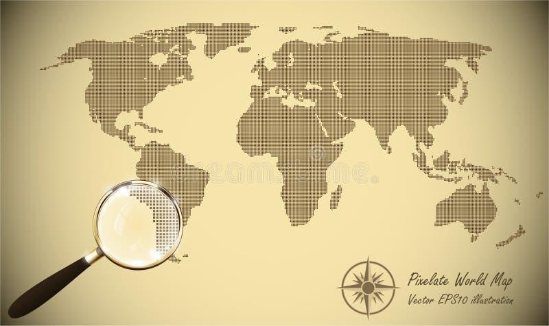 Soustrayez la vieille rétro illustration tramée de papier pointillée de vecteur d'effet de carte Silhouette de carte du monde For illustration libre de droits