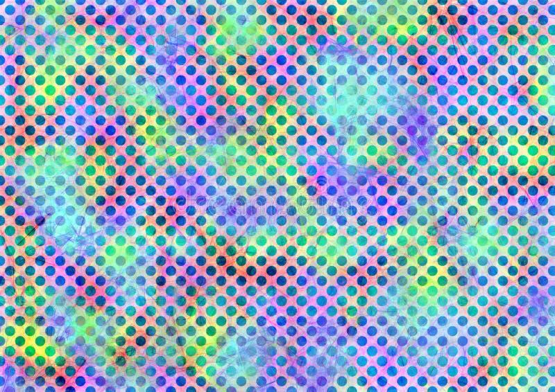 Soustrayez le fond coloré d'aquarelle tirée avec des points et des traçages illustration stock