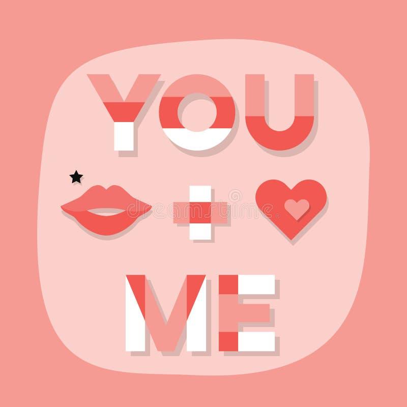 Soustrayez-VOUS + JE message avec les lèvres et le coeur de femme sur l'emblème rose illustration de vecteur